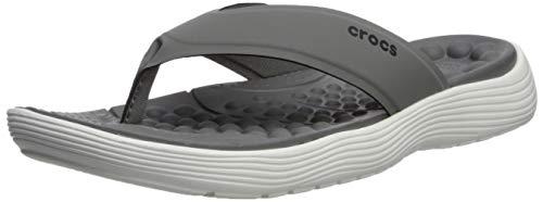 (Crocs Men's Revivaflipm Flip-Flop, Slate Grey/White, 5 M US)
