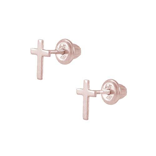 Kids Jewelry - 14K Rose Gold Cross Screw Back Stud Earrings for Girls