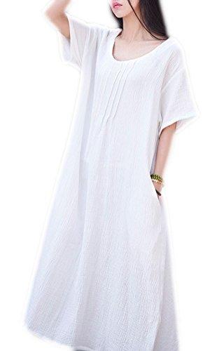 Donne Cotone Corta Tasche Con Tubini Delle In Biancheria Manica A Bianche Soojun 6EX0qE