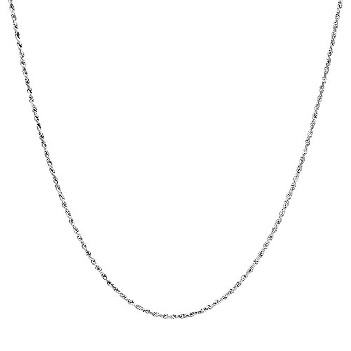 NYC Sterling Sterling Silver .925 Diamond Cut 040 Gauge Rhodium Plated Rope Chain (16
