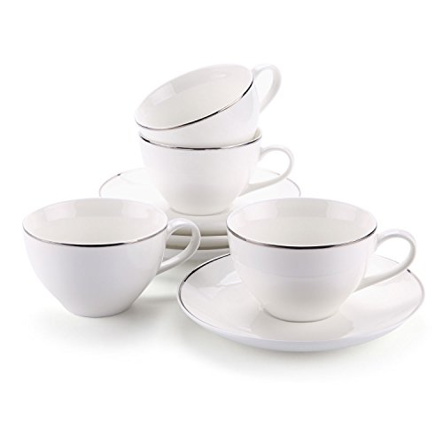 T4U 145ml/5 oz. Silver Edge Espresso Cups and Saucers Set with Handle Tea Cup and Saucer Fine Durable Porlecain White sets of 4 - Edge Tea Saucer