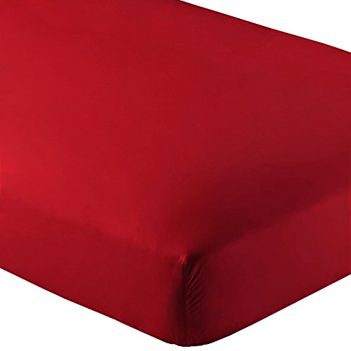 Bare Home Fitted Bottom Sheet Premium 1800 Ultra-Soft Wrinkle Resistant Microfiber, Hypoallergenic, Deep Pocket (Queen, Red) - Red Big Sheet