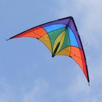 Lenkdrachen - 1-2-SEVEN Cool - für Kinder ab 8 Jahren, Fliegt in Einem Extrem großen Windbereich - Abmessung: 104x52cm - inkl. Steuerleinen mit Gurtschlaufen (Cool) Colours in Motion 233020
