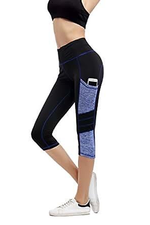 Imido Women's Yoga Capri Pants Sport Tights Workout Running Leggings With Side Pocket (S, Capri Pants)