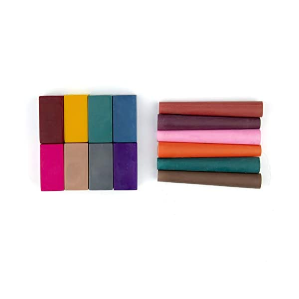 Azafran-Organic-Crayons-Organic-Block-and-Pencil-Crayons-6-Pencils-Crayons-and-8-Block-Crayons-111-Grams