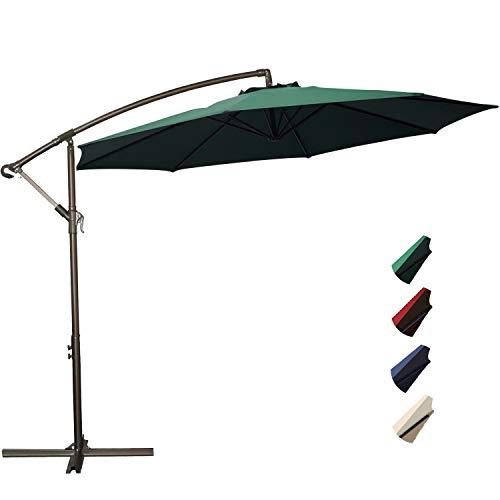 RUBEDER Offset Umbrella - 10Ft Cantilever Patio Hanging Umbrella,Outdoor Market Umbrellas with Crank Lift & Cross Base (10 Ft, Dark ()