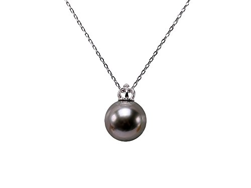JYX Pearl Necklace Pendant AAA Quality 13mm Round Black Tahitian Pearl Pendant Necklace for Women 18