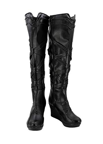 Allten Womens Valkyrie Halloween Cosplay Shoes Black Costume Boots (9.5 M US Female) -