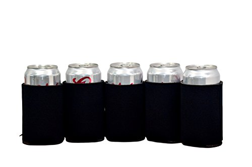 QualityPerfection 25 Black Party Drink Blank Can Coolers(4,6,12,25 or 50 Bulk Pack)Blank Beer ,Soda Coolies Sleeves | Soft, Insulated Coolers | 16 Colors | Perfect For DIY Projects,Holidays,Events
