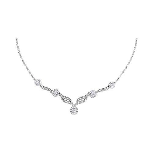 Roy Rose Jewelry 14K White Gold Womens Princess Diamond Soleil Cluster Luxury 18