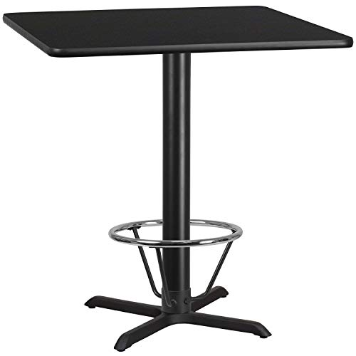 MFO 42'' Square Black Laminate Table Top with 33'' x 33'' Bar Height Table Base and Foot Ring