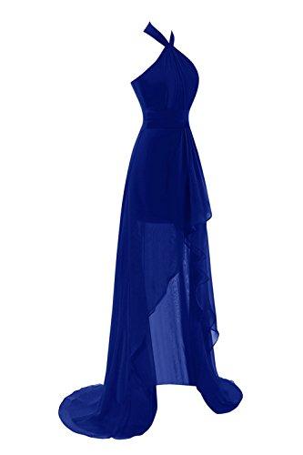 Bess Mousseline Licol Femmes De Mariée Haute Décolletées Partie Prom Backless Bleu Royal