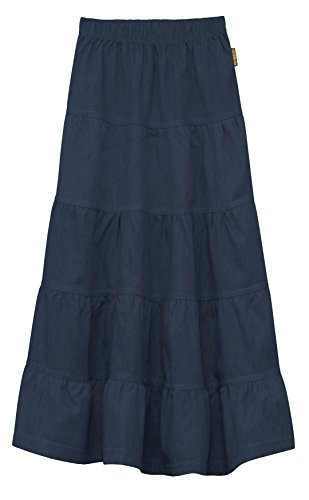GIRL'S (CHILDREN'S) Ankle Length Long Denim 5 Tiered Skirt Small Blue