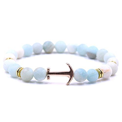 HYHONEY Natural Stone Anchor Bracelet Arrow White Black Onyx Lava Beads (Strand Onyx Bead Toggle Bracelet)