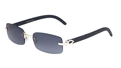 Dean Slim Rimless Rectangular Metal & Wood Aviator Sunglasses (Rose Gold & Black Wood, ()