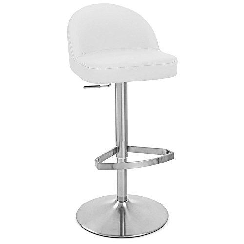 (Zuri Furniture White Mimi Adjustable Height Swivel Armless Bar Stool)