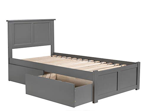 Atlantic Furniture AR8622119 Madison Platform Bed with 2 Urban Bed Drawers, Twin, Grey ()