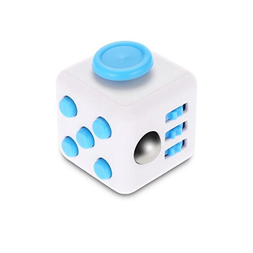 Stress Relief Fidget Cube Toy: Fidget Toy for Relaxing Therapy Cube Fidget Toy – Great Gift for Autism, ADD, ADHD – Fidget Toys for Work/Office/Home (1 PACK, White - Blue)
