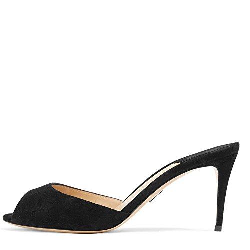 Ayercony Slide Sandal, Woman's Kitten Heel Mule Sandals Peep Toe Mules Backless Shoes for Dress Party Black Size 10 US (Mule Kitten)