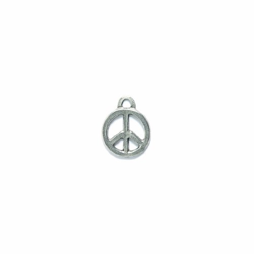 Shipwreck Beads Pewter Peace Sign Charm, Silver, 17mm, 3-Piece ()