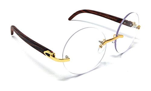 Diplomat Rimless Round Metal & Wood Eyeglasses / Clear Lens Sunglasses - Frames (Gold & Cherry Wood Frame, Clear) ()