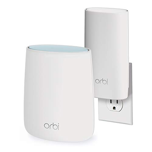 Wireless Access Netgear Broadband (NETGEAR Orbi Compact Wall-Plug Whole Home Mesh WiFi System - WiFi Router Wall-Plug Satellite Extender speeds up to 2.2 Gbps Over 3,500 sq. feet, AC2200 (RBK20W))