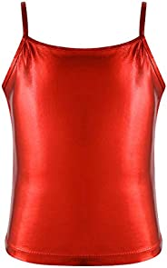 JEATHA Kids Girls' Spaghetti Shiny Metallic Cami Shirt Gymnastics Sports Tank Crop Tops Vest Yoga Dance Ts