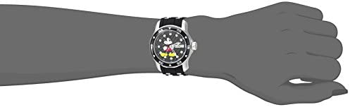 Invicta Women's Disney Limited Edition Stainless Steel Quartz Watch with Silicone Strap, Black, 20 (Model: 23770)