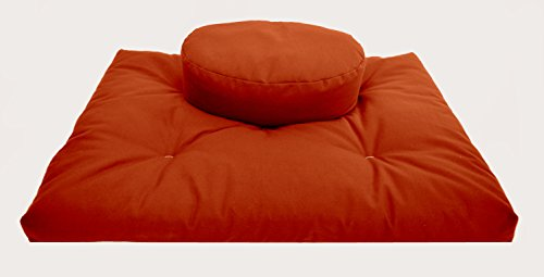 Oval Sweet - Bean Products SWEET POTATO Oval Zafu + Zabuton Meditation Cushion Set - 100% Organic Cotton - Organic Buckwheat Fill - Made in USA