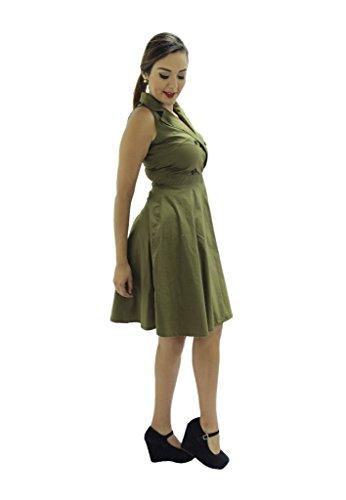 Amusée Femmes Court Une Armée Verte De L'armée Verte Robe Coupée
