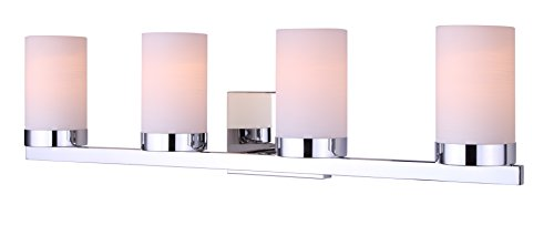 Aldridge Modern 4-Light Vanity - Chrome - Lighting With Canopy Mirrors Bathroom
