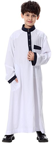 Ababalaya-Teenagers-Long-Sleeve-Mock-Neck-Color-Block-Muslim-Thobes-Dishdasha-Easter-Wear
