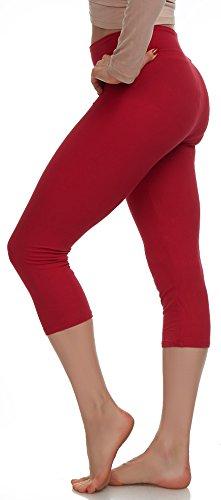 LMB Lush Moda Extra Soft Capri Leggings - Variety of Colors - Yoga Waist - Deep Red ()
