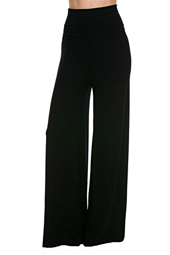 Superline Wide Leg High Fold Over Waist Palazzo Pants (X-Large, Black Solid) - Wide Leg Palazzo Pants