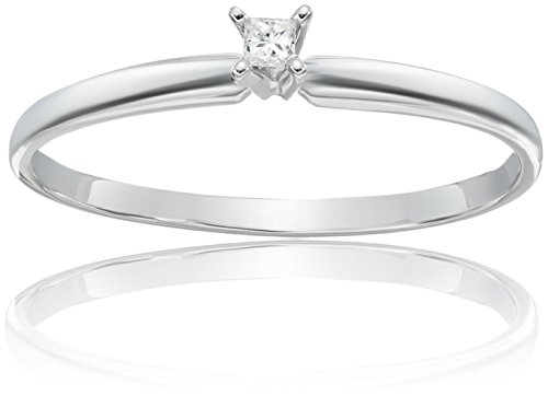 Diamond Antique Engagement Ring Setting (14k White Gold Princess-Cut Solitaire Engagement Ring (0.05 carat, I-J Color, I1-I2 Clarity), Size 6)