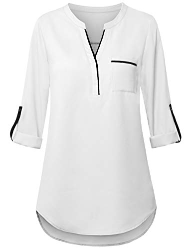 FANSIC Women V Neck High Low Hem Chiffon Blouses Top 3/4 Roll Sleeve Casual Tunics Blouse White and Black - Blouse White Black