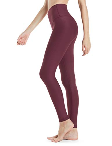 Tesla TM-FYP52-RDW_Medium Yoga Pants High-Waist Tummy Control w Hidden Pocket FYP52