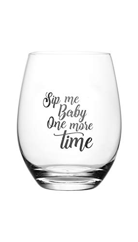 Sip Me Baby One More Time - Cute, Novelty, Etched Wine Glass by Lushy Wino - Large 16 Ounce Size with Funny, Etched Sayings - Gift Box (Wine Glasses For Women)