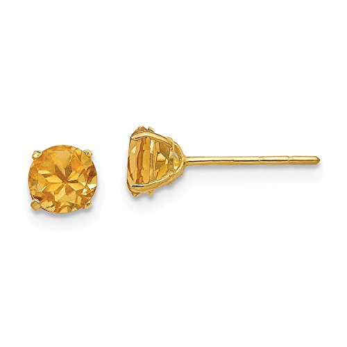 14k Yellow Gold Round Citrine 5mm Post Stud Earrings Birthstone November Gemstone Fine Jewelry Gifts For Women For Her