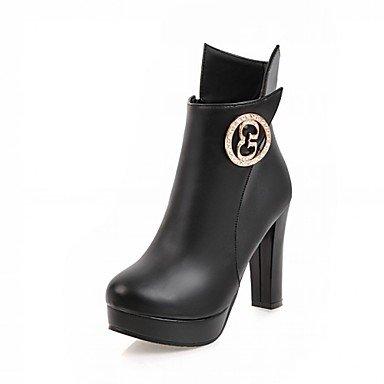RTRY Zapatos De Mujer Polipiel Primavera Moda Invierno Botas Botas Chunky Talón Puntera Redonda Botines/Botines Rhinestone Para Oficina Informal &Amp; US7.5 / EU38 / UK5.5 / CN38