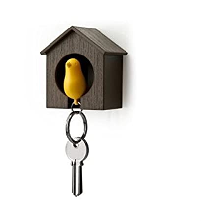 BRAND NEW Single Sparrow Key Ring /& Whistle Birdhouse Keychain Holder Boxed
