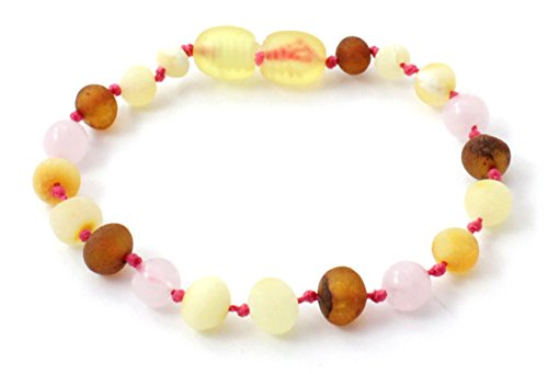 Unpolished Baltic Amber Teething Bracelet/Anklet Made with Rose Quartz Beads - Size 5.5 inches (14 cm) - Raw Multicolor Amber Beads - BoutiqueAmber (5.5 inches, Raw Multi/Rose Quartz)