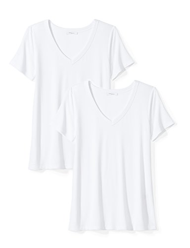 Amazon Brand - Daily Ritual Women's Jersey Short-Sleeve V-Neck T-Shirt, White, X-Small