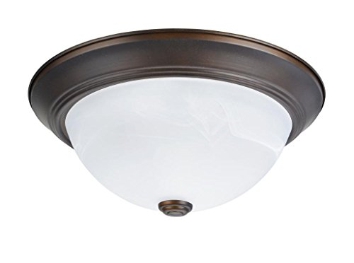 Aspen Creative 63014-2 63013-2 Two-Light Flush Mount in Bronze with White Alabaster Glass Shade, 13