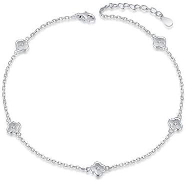925 Sterling Silver Ankle Bracelets Moon Star Sun Universe//Flower//Sunflower//Heart//Sideway Cross Adjustable Anklet Jewelry Foot Chain for Women Girls 9+1inch