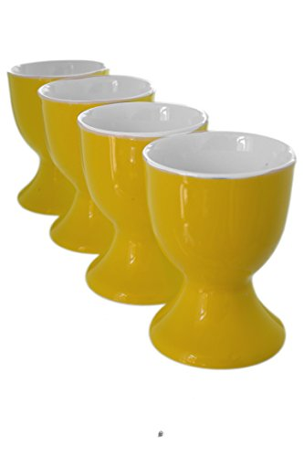 Yellow Cup Egg (Set 4 Yellow Royal Fine Porcelain Footed Cup Egg Holder Stands)