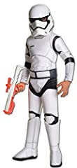 Super Deluxe Stormtrooper costume features a jumpsuit with foam armor detail, 2-piece helmet, and belt; blaster available separately. The epic saga of the galaxy far, far away returns and you can join the fun! Children's sizes are offered in ...