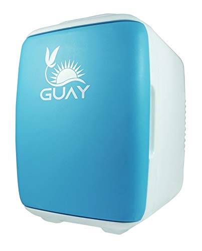 Guay Outdoors Portable Thermoelectric Mini Fridge Cooler and Warmer - 4 Liter/6 can. AC/DC Great for Car, Travels, Dorm, Camping and Bedroom - Blue