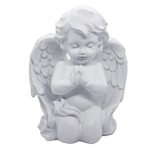 Kneeling Praying Cherub Angel Statue Figurine Indoor Outdoor Home Garden Guardian Decorative Church Wings Angel Statue Sculpture Memorial Statue, White, 6.25