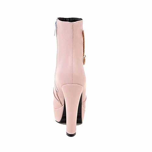 High Round Pink Boots Closed Low Top Women's Metal Heels with Zipper AgooLar Toe wxBqAFIUYn